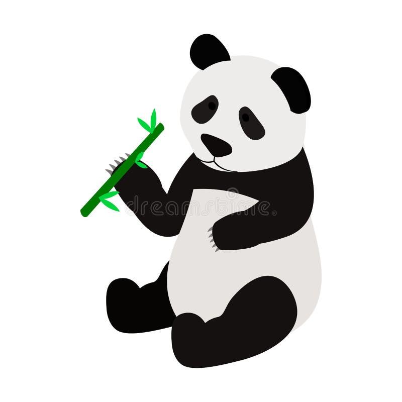 吃笋象的熊猫 向量例证