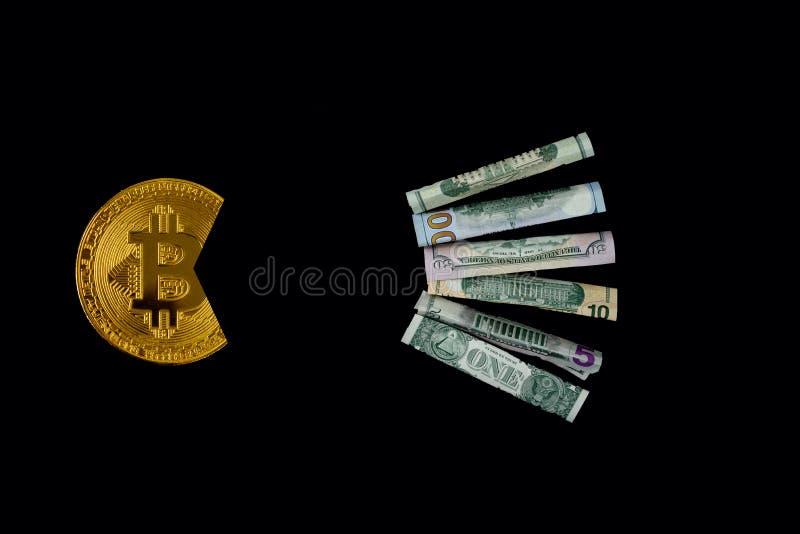 吃美元的Bitcoin 免版税库存图片