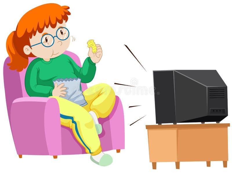 看电视卡通_吃芯片的肥胖妇女,当看电视时