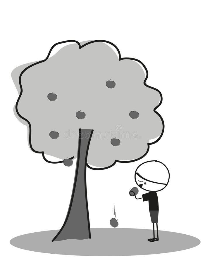 吃苹果的小男孩在苹果树下 向量例证
