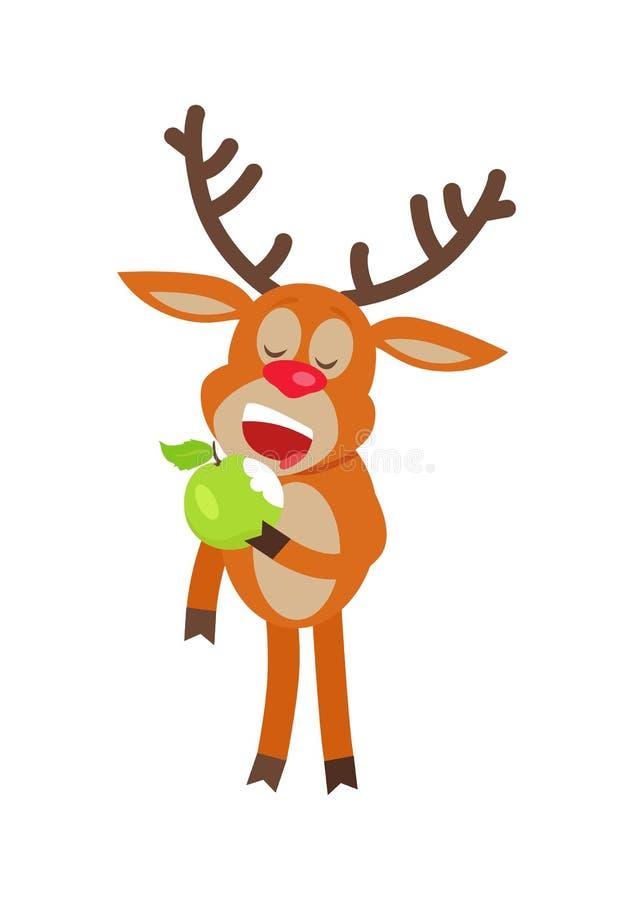 吃苹果计算机动画片平的传染媒介例证的鹿 库存例证