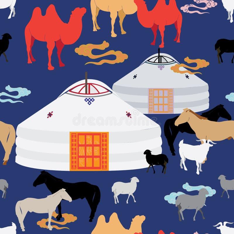 吃草在草甸围拢的蒙古人传统ger的牛的例证 向量例证