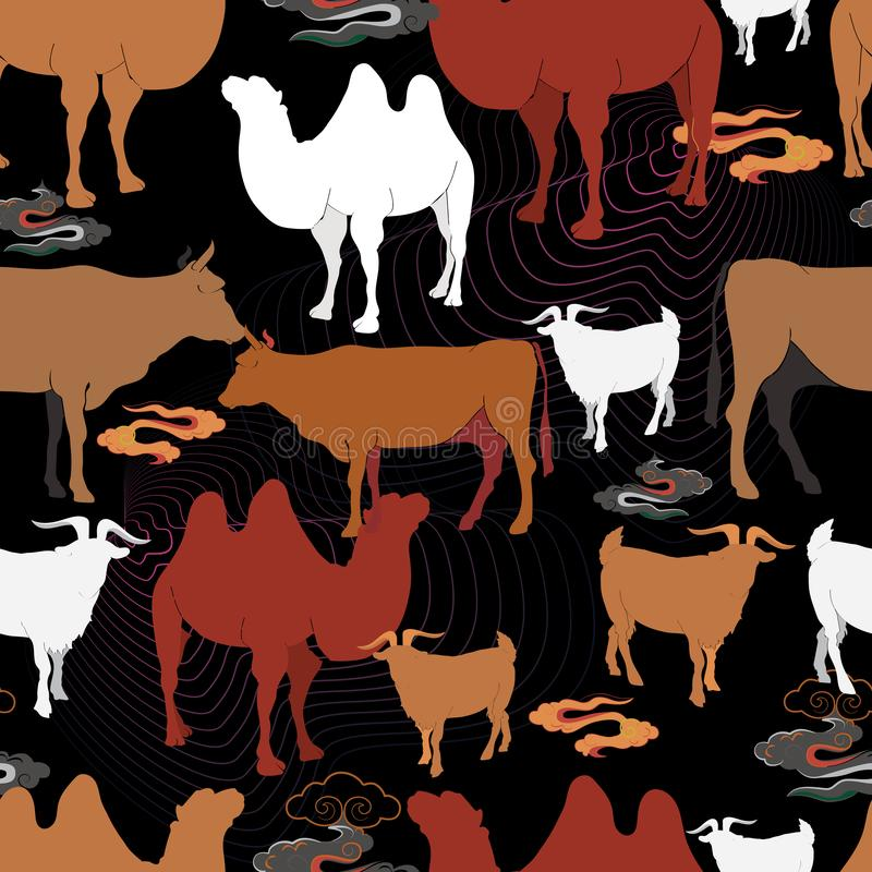 吃草在草甸的牛 向量例证