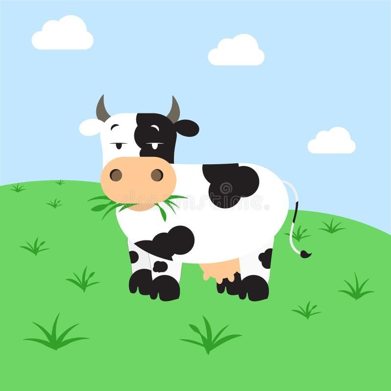 吃草母牛的域 向量例证
