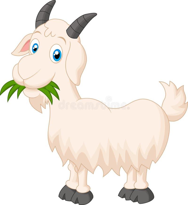 吃草的动画片山羊 皇族释放例证