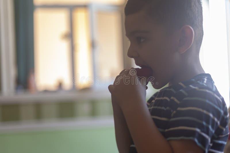 吃草莓的一个小男孩 E 免版税图库摄影