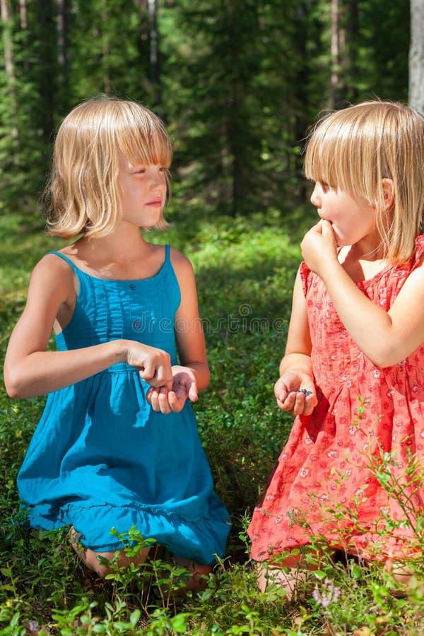 吃莓果的孩子在夏天森林里 图库摄影