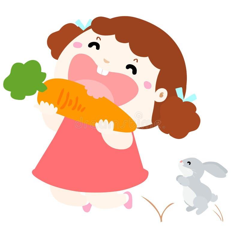 吃菜例证的逗人喜爱的女孩爱 向量例证
