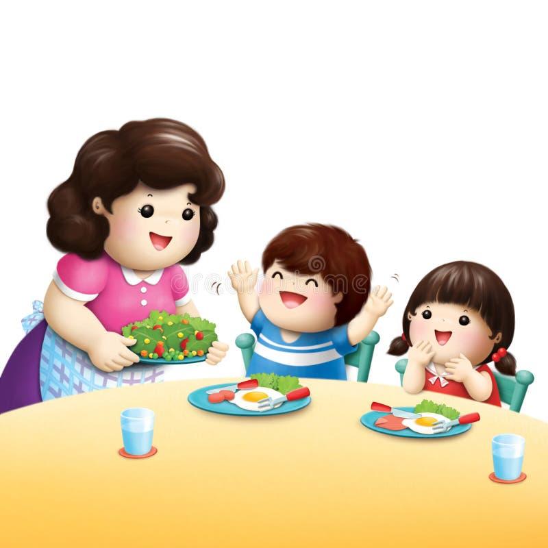 吃菜的孩子爱 向量例证