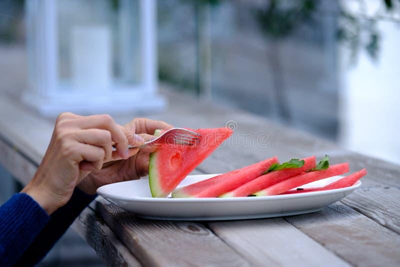 吃西瓜妇女年轻人 免版税库存照片