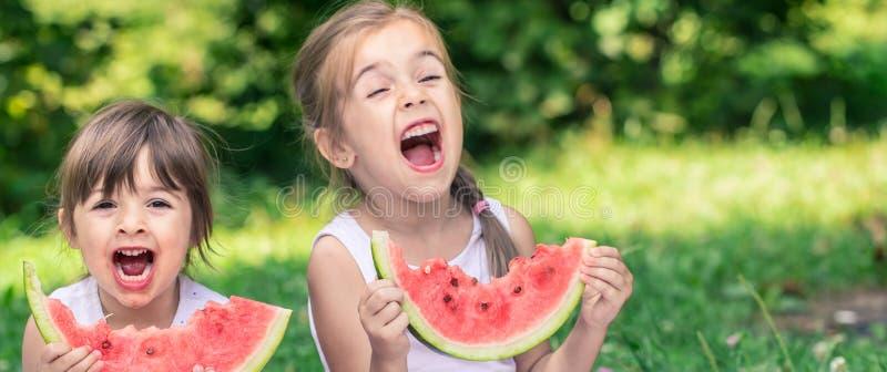 吃西瓜的两个小逗人喜爱的女孩户外 免版税库存图片