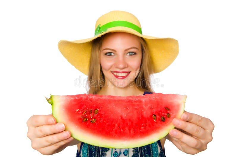 Download 吃西瓜的妇女隔绝在白色 库存照片. 图片 包括有 本质, beautifuler, 现有量, 女孩, 女性 - 72362028