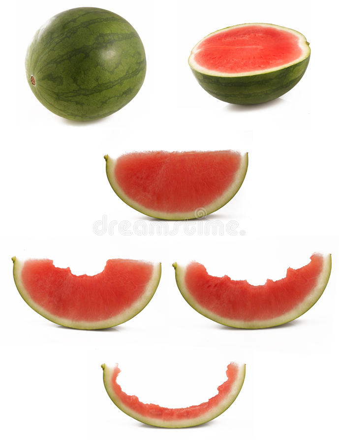 吃西瓜的过程-逐步 免版税库存照片
