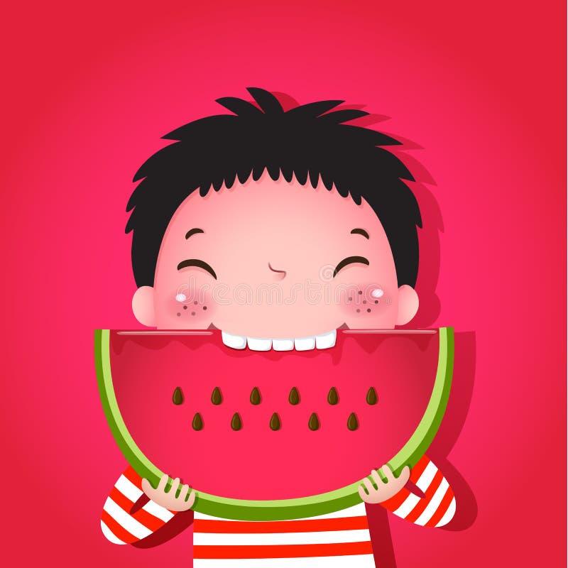 吃西瓜的逗人喜爱的男孩 向量例证