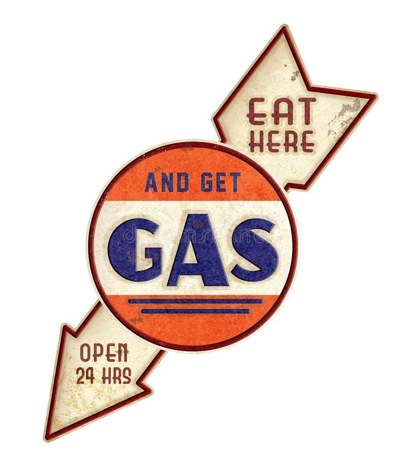 吃这里得到气体葡萄酒标志 免版税库存照片