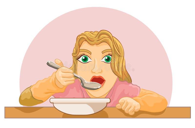 吃食物的女孩在桌上 皇族释放例证