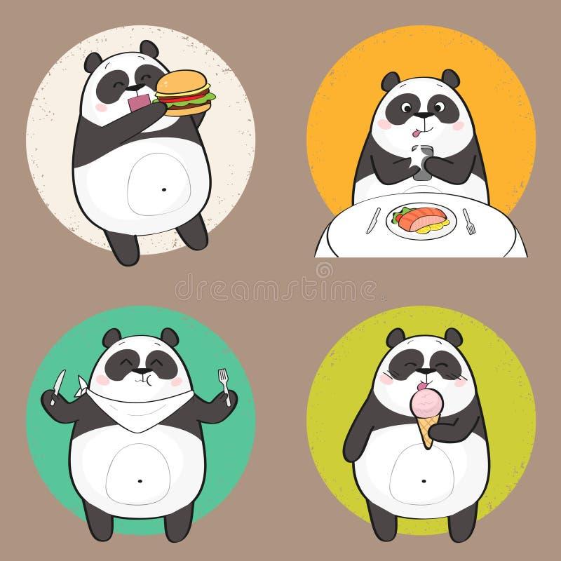 吃食物的逗人喜爱的熊猫字符 皇族释放例证