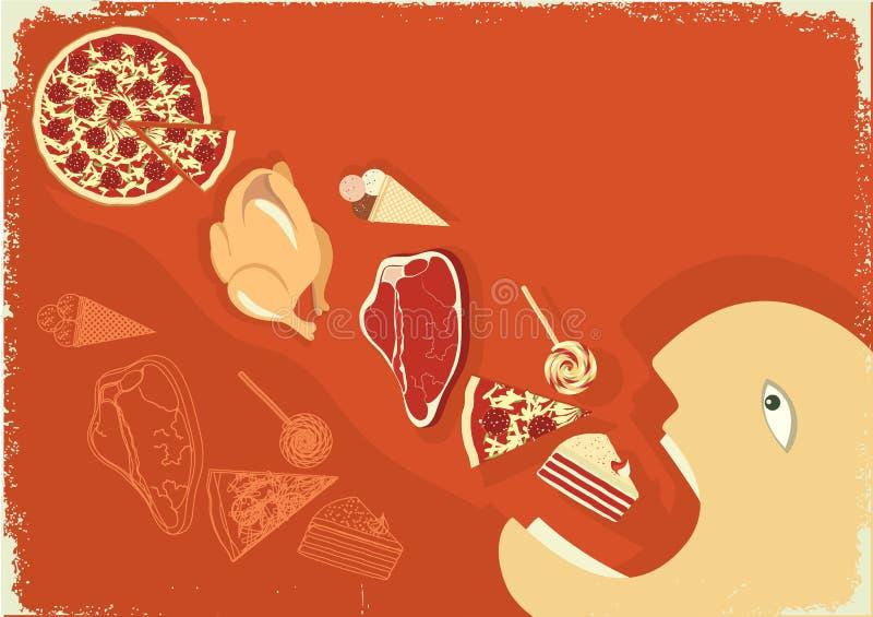 吃食物饥饿的批次人海报向量 向量例证