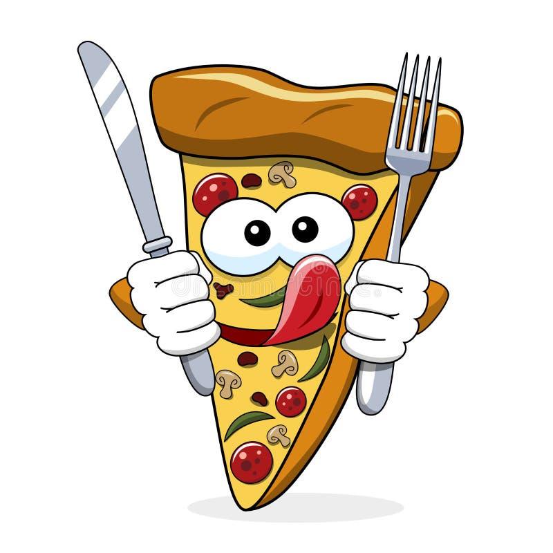 吃饥饿的舌头的比萨切片动画片滑稽的叉子刀子被隔绝 向量例证