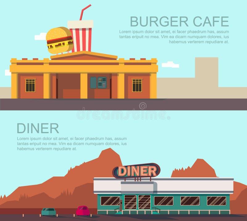 吃饭的客人和汉堡咖啡馆 向量例证