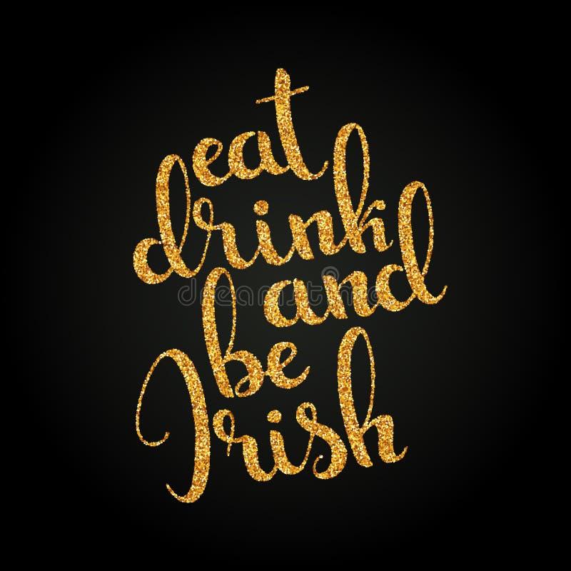 吃饮料并且是爱尔兰金黄手写的字法 愉快的St P 皇族释放例证