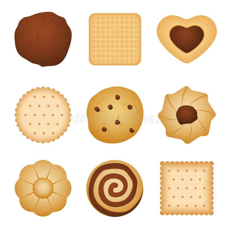 吃饼干家不同的形状做了曲奇饼,早餐传染媒介集合的食物 皇族释放例证