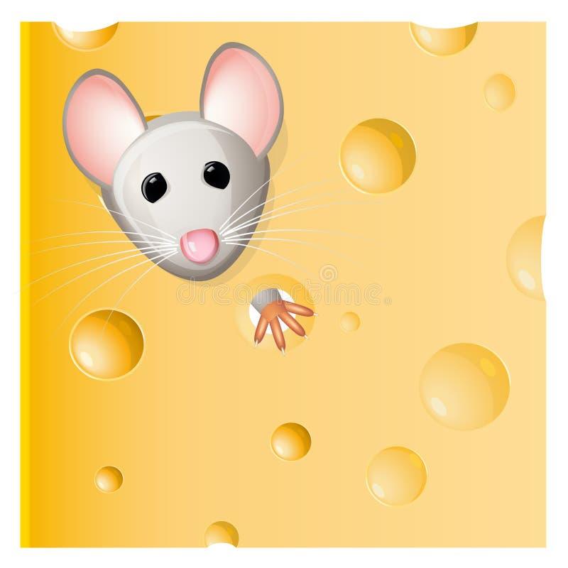 吃鼠标部分的干酪 库存例证