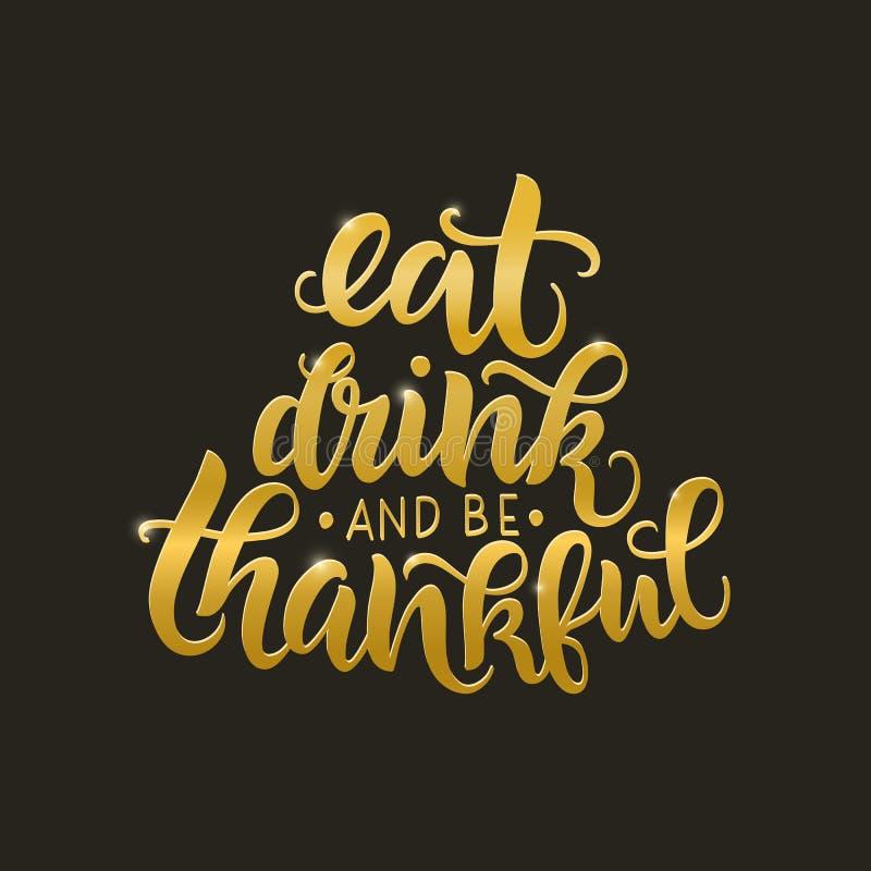 吃,喝和是感激的传染媒介字法行情 手写的贺卡模板为感恩节 n 库存例证