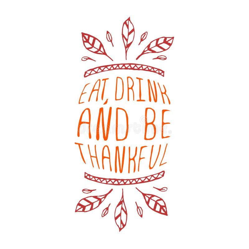 吃,饮料并且是感激的-印刷元素 库存例证