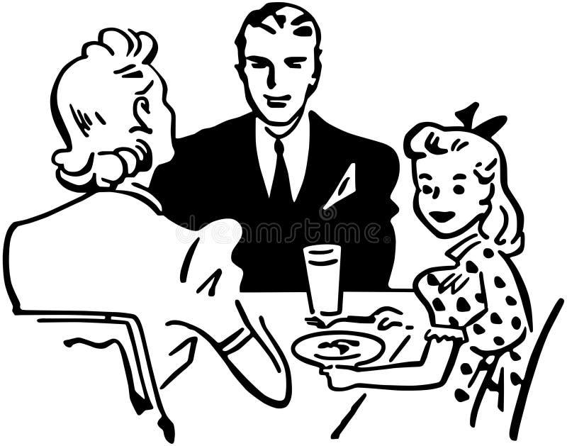 吃系列父亲母亲薄饼的大儿童正餐 库存例证