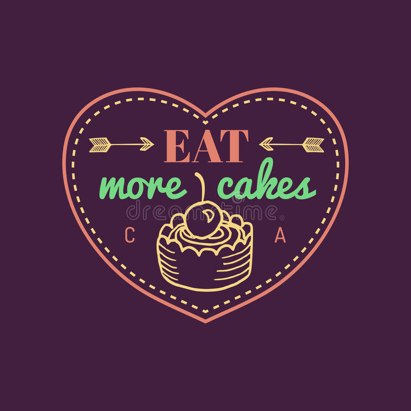 吃更多蛋糕葡萄酒蛋糕商标 传染媒介面包店标签 可口雅致的曲奇饼印刷海报 行家酥皮点心象 库存例证