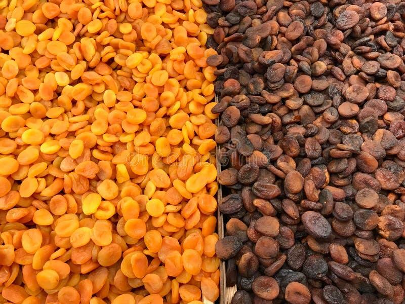 各式各样的土耳其杏子待售Backround看法的纹理关闭 免版税库存图片