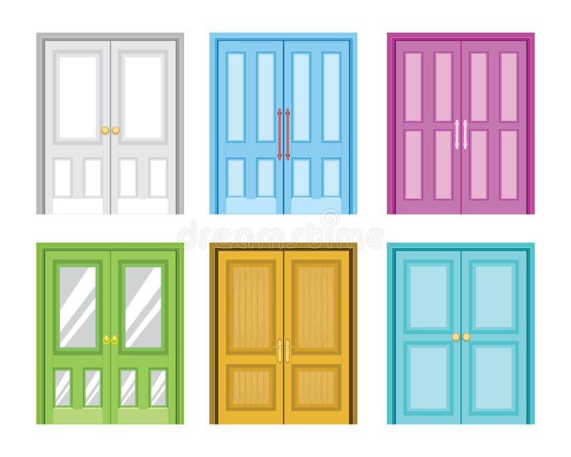 各种各样五颜六色的家庭门设计传染媒介例证 库存例证