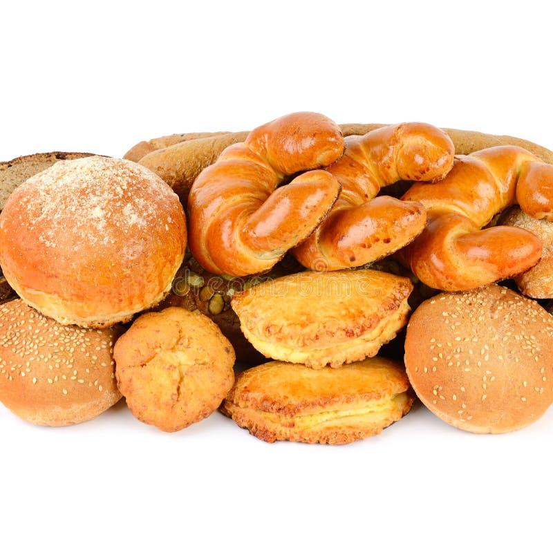 各种各样在白色backgroun隔绝的面包和面包店产品 图库摄影