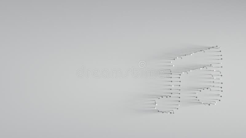 各种各样在音乐笔记形状的金属钉子  免版税库存图片