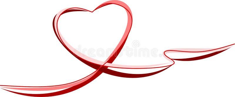 各种各样的丝带作为红色心脏 皇族释放例证