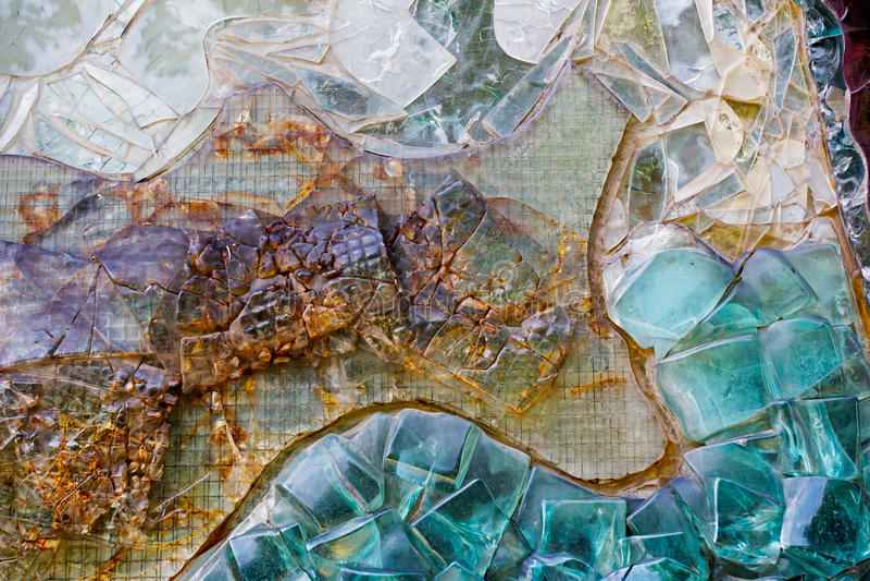 各种各样的五颜六色的抽象装饰玻璃墙 库存照片