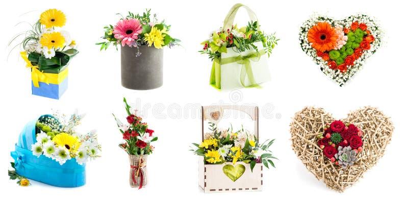 各种各样的五颜六色的花的布置的汇集作为花束的我 库存图片