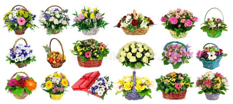 各种各样的五颜六色的花的布置的汇集作为花束的我 免版税库存图片
