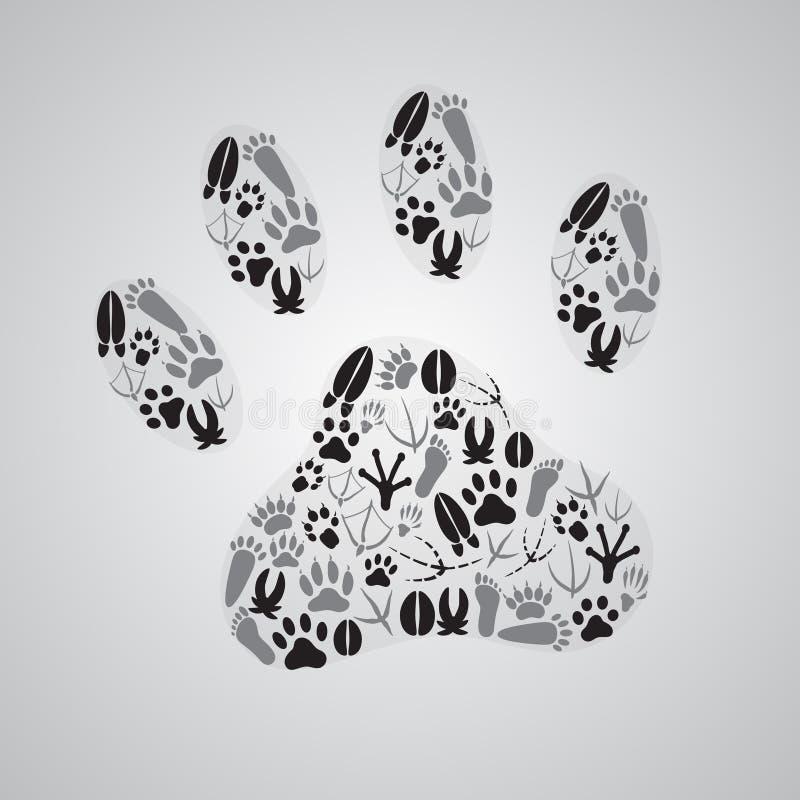 各种各样的动物脚印 向量例证