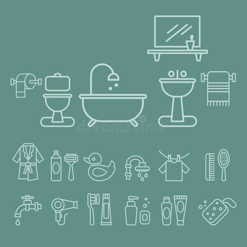 各种各样的卫生间元素象传染媒介集合 向量例证
