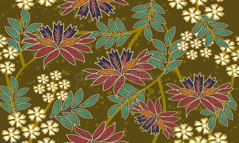 各种各样的印度尼西亚蜡染布主题,与现代颜色各种各样的接触,成为非常好工作 向量例证