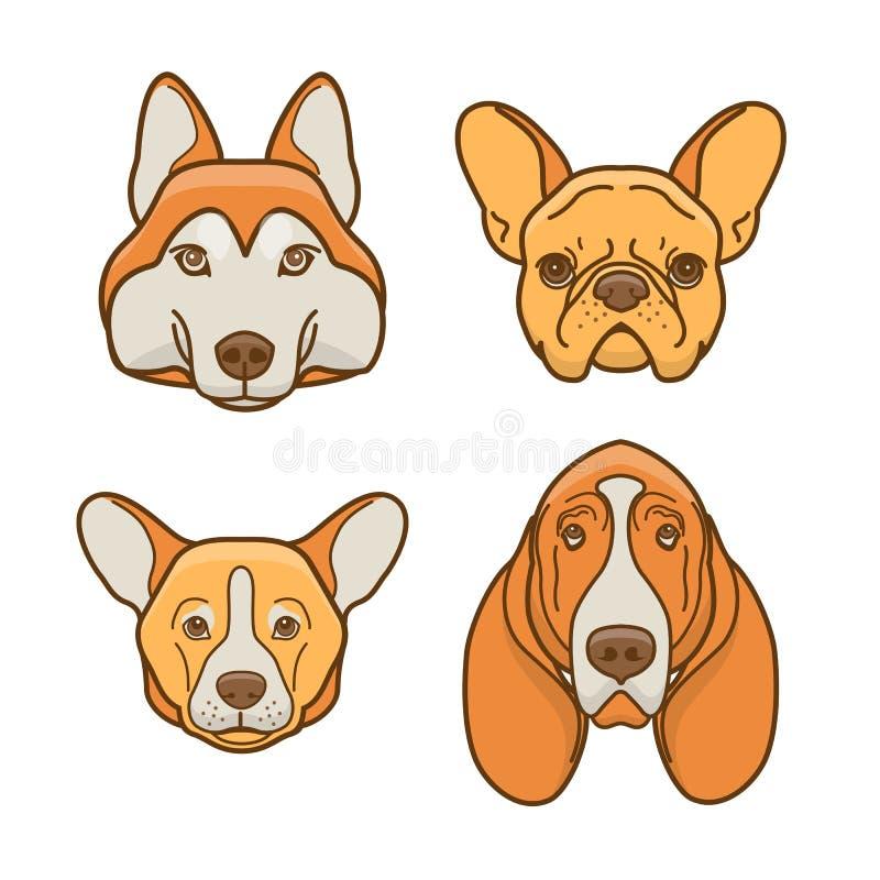 各种各样的品种的狗面孔 2件装饰品设置了 向量例证