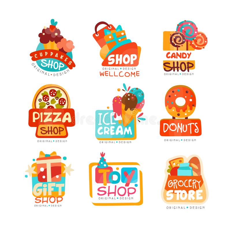 各种各样的商店商标模板的汇集设置了,杯形蛋糕、糖果、薄饼、冰淇凌、多福饼、礼物和玩具市场的象征 向量例证