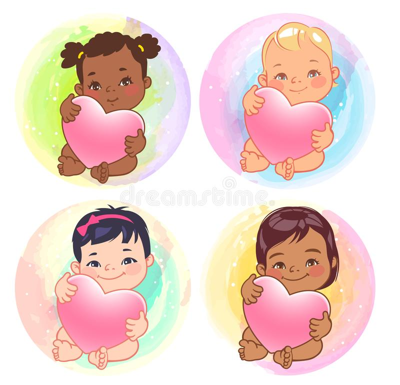 各种各样的国家的逗人喜爱的矮小的女婴拿着心脏 库存例证