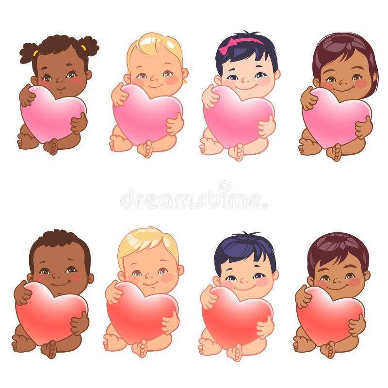 各种各样的国家的逗人喜爱的矮小的男婴和女孩拿着心脏 皇族释放例证