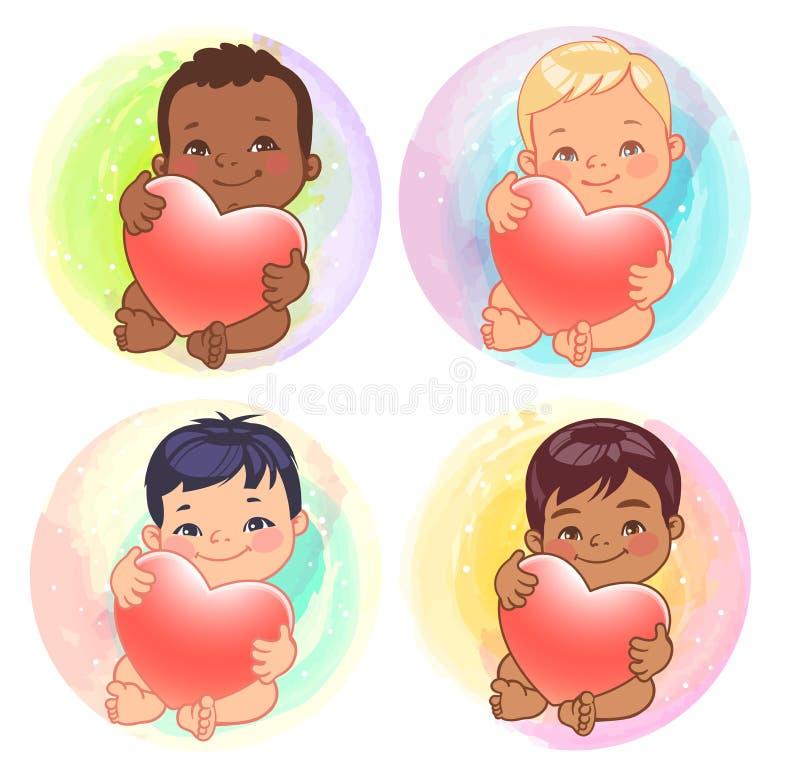 各种各样的国家的逗人喜爱的矮小的男婴拿着心脏 皇族释放例证