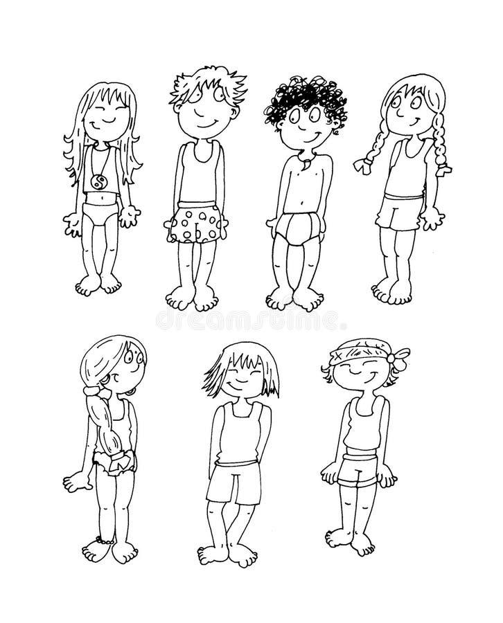 各种各样的国籍的孩子在他们的内衣脊椎着色的孩子的 库存例证