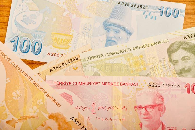 各种各样的土耳其里拉钞票后部 免版税库存照片
