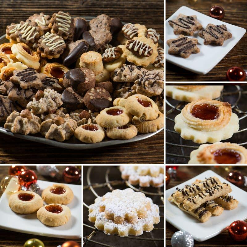各种各样的圣诞节曲奇饼拼贴画  图库摄影